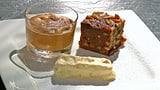 Tessiner Brotkuchen, Amaretti-Halbgefrorenes und Schokolademousse
