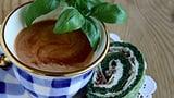 Tomatensuppe mit Buechiberger-Spinatkäse-Röuelli