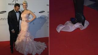 Styling-Panne: Dominique Rinderknechts Kleid löst sich auf