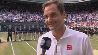 Federer geizt im Platzinterview nicht mit Humor