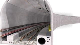 Morgenröte für den Grimseltunnel mit Bahn und Strom