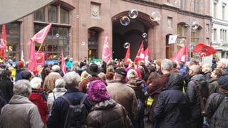 Linker Protest gegen die Schliessung der Basler Hauptpost