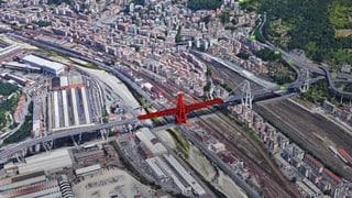 An dieser Stelle brach der Ponte Morandi ein