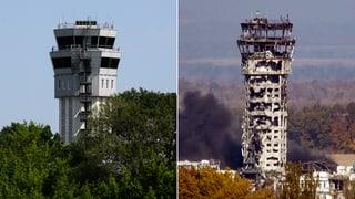 Vorher-Nachher-Bilder: Zerstörung des Luxus-Flughafens von Donezk