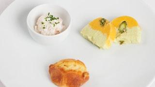 Tatar von geräucherten Forellen mit Gemüseflan und Quarkbrötli