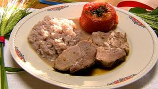 Schweinsbraten Felice mit Merlot-Risotto und gedämpfte Tomaten