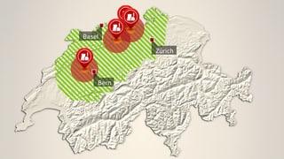 Schweizer AKW: Die Gefahrenzonen