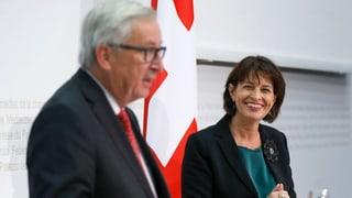 Anlässlich des Besuchs Junckers kündigt der Bundesrat die Bereitstellung weiterer 1,3 Milliarden Franken Köhäsionsgelder an.