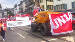 Grossdemonstration der Bauarbeiter in Zürich
