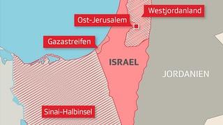 Israel eroberte 1967 grosse Gebiete seiner Nachbarn. Die Infografik zeigt die betroffenen Territorien.