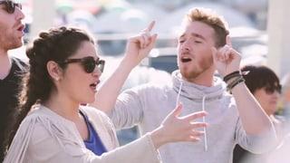 Timebelle jammen mit ESC-Nachbar Nathan Trent aus Österreich