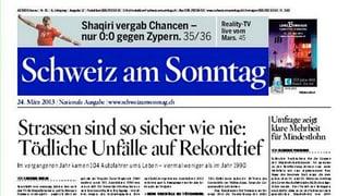 «Schweiz am Sonntag»: Aus zwei wird eine Zeitung
