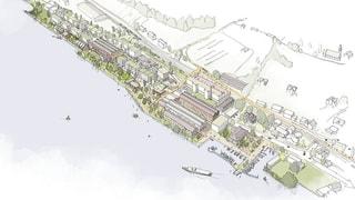 Ein Seeuferpark, ein Gymnasium, Wohnungen und Gewerbe