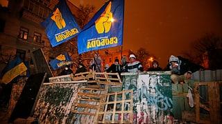 Machtkampf in der Ukraine: Polizisten reissen Barrikaden nieder