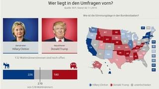 Clinton oder Trump: Das sagen die Umfragen