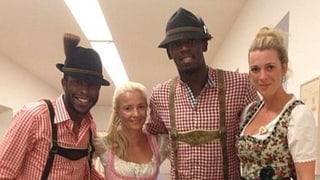 Sprintstar Usain Bolt in Lederhosen am Oktoberfest