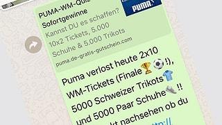 Vorsicht vor gefälschtem Fussball-Wettbewerb über Whatsapp