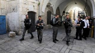 Angreifer haben letzten Freitag nahe des Tempelbergs auf israelische Polizisten geschossen. Auf der Flucht wurden die Täter getötet.