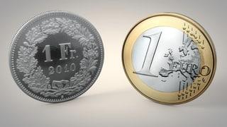 Der Euro fällt unter 1.10 Franken