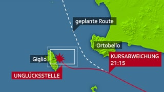 Infografik: Die Unglücksfahrt der «Costa Concordia»