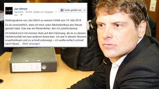 «Unverzeihlich»: Jan Ullrich gesteht Trunkenheit am Steuer