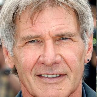Porträbild von Harrison Ford und ein Bild des abgestürzten Flugzeugs.