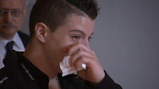 Herzlicher Empfang in der Heimat: Lucas Fischer zu Tränen gerührt