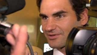 Roger Federer ergriffen nach Standing Ovation
