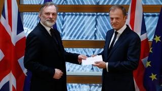 Jetzt gilts ernst: Brexit-Antrag in Brüssel eingegangen
