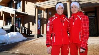 Equipa naziunala da biatlon cun duas soras Gasparin