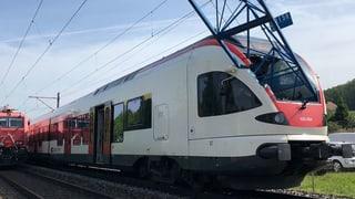 Kranausleger stürzt auf Zug