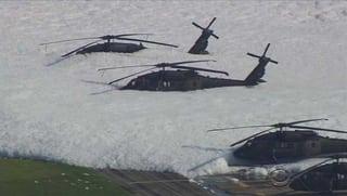 Ein unfreiwilliges Schaumbad für Helikopter