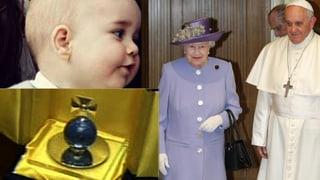 Der Papst übergibt der Queen ein Gschänkli für Urenkel George