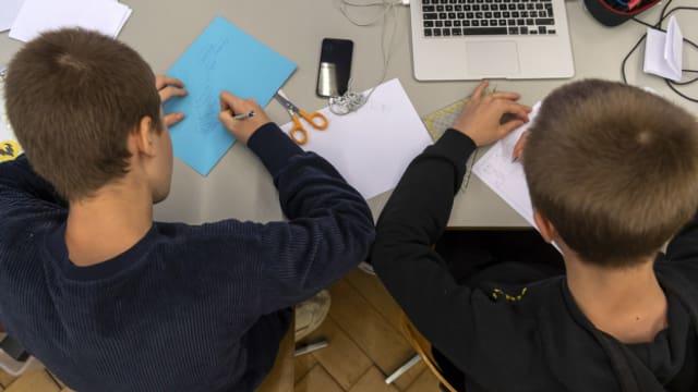 Schüler im De-Wette-Schulhaus in Basel