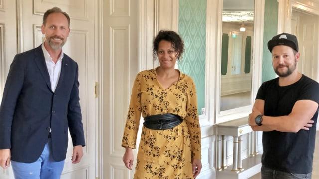 Gastgeber Christian Zeugin mit Angélique Beldner und Christian Häni