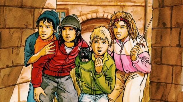 Die vier Freunde Mika, Mara, Katja und Schorsch erleben mit ihrem Maskottchen, der Stoffratte Kohlrabi, viele Abenteuer