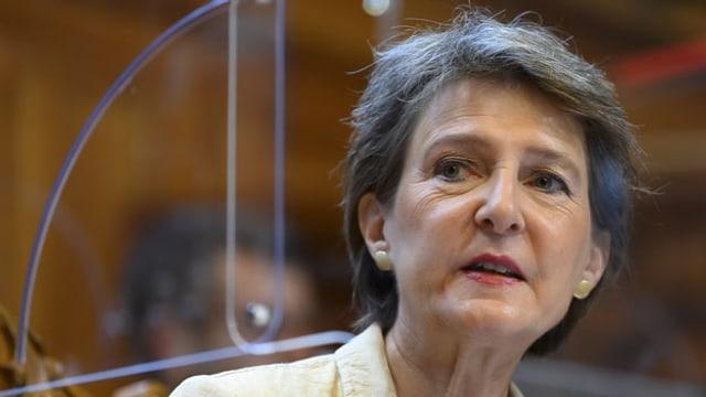 Bundespräsidentin Simonetta Sommaruga spricht während der Herbstsession der Eidgenössischen Räte, am Donnerstag, 17. September 2020 im Ständerat in Bern.