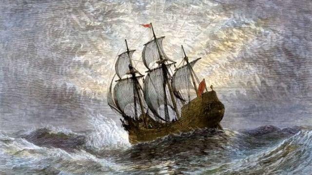 Die Mayflower zur See, 1620. Handbemalter Holzschnitt.