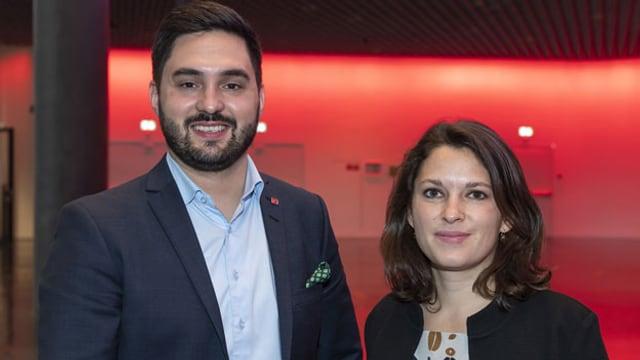 Das neu gewählte Präsidium der Sozialdemokratischen Partei der Schweiz mit Mattea Meyer, Nationalrätin ZH, (rechts) und Cedric Wermuth, Nationalrat AG, am 17. Oktober 2020.
