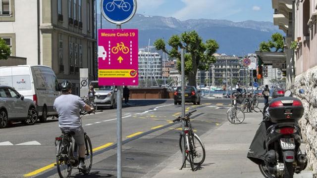 Veloweg in Genf.