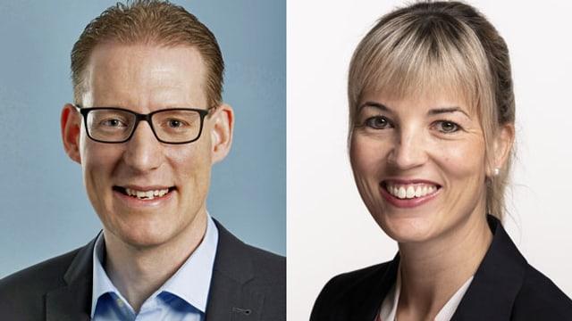 Adrian Wüthrich (li.) Präsident des Gewerkschaftsdachverbandes Travail Suisse und SVP-Nationalrätin Diana Gutjahr.