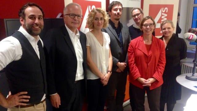 Die Teilnehmer der Jubiläumsdiskussion auf SRF4 News.