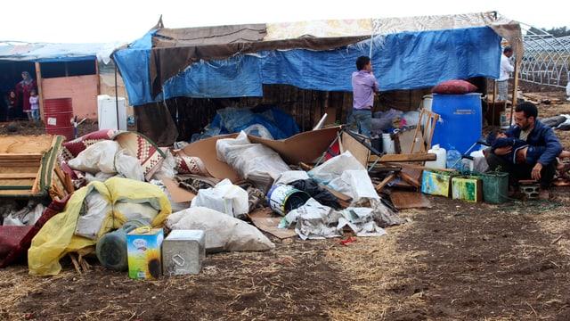 Zeltlager mit Syrern im Nordlibanon nach Regenfällen Ende September.