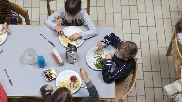 Kinder essen zu Mittag
