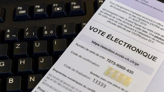 E-Voting-Unterlagen auf Tastatur