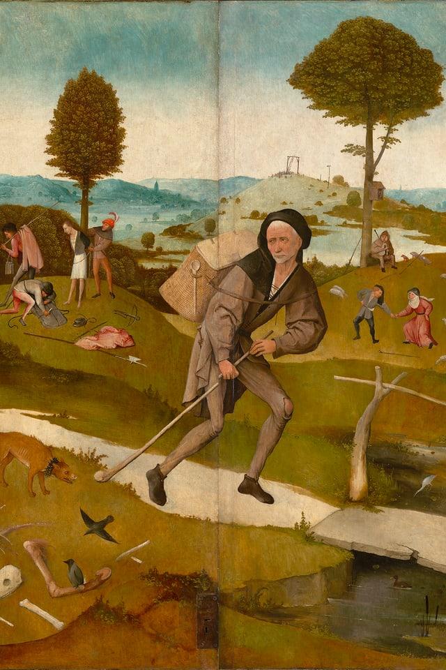 Gemälde, das einen Landstreicher zeigt.