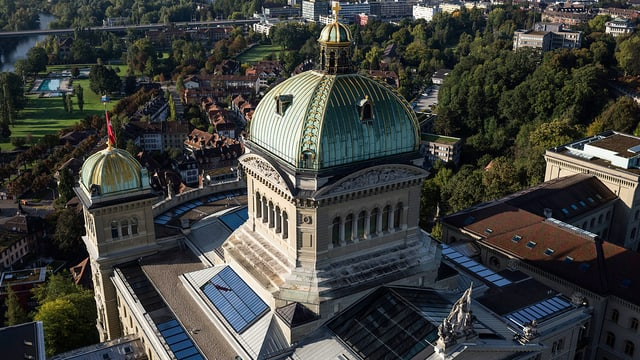 Luftaufnahme des Bundeshauses in Bern
