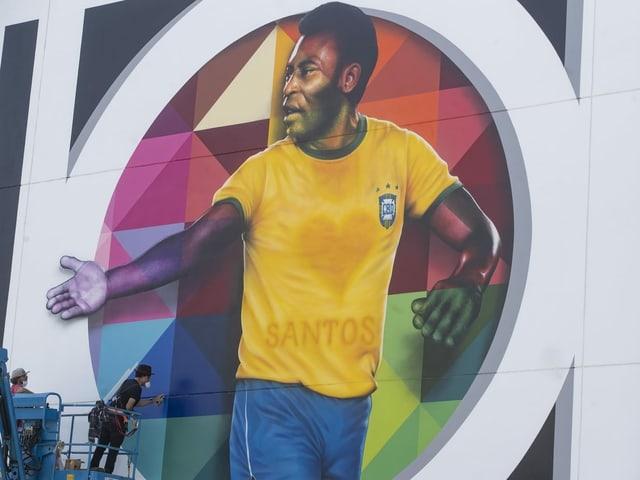 Streetart in Pelés Geburtsstadt Santos anlässlich seines 80. Geburtstags.