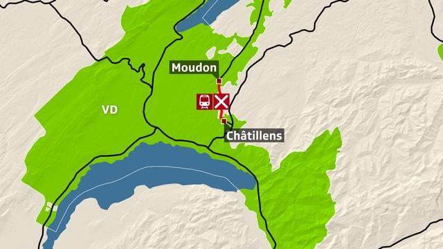Karte Moudon, Châtillens