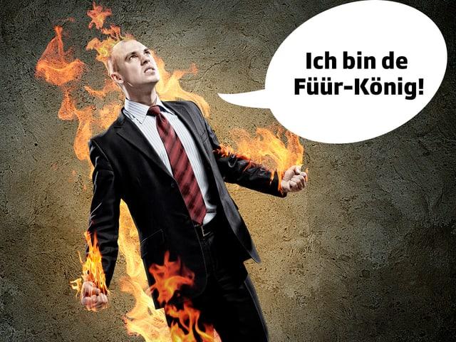 Mann steht in Flammen/Stockfoto